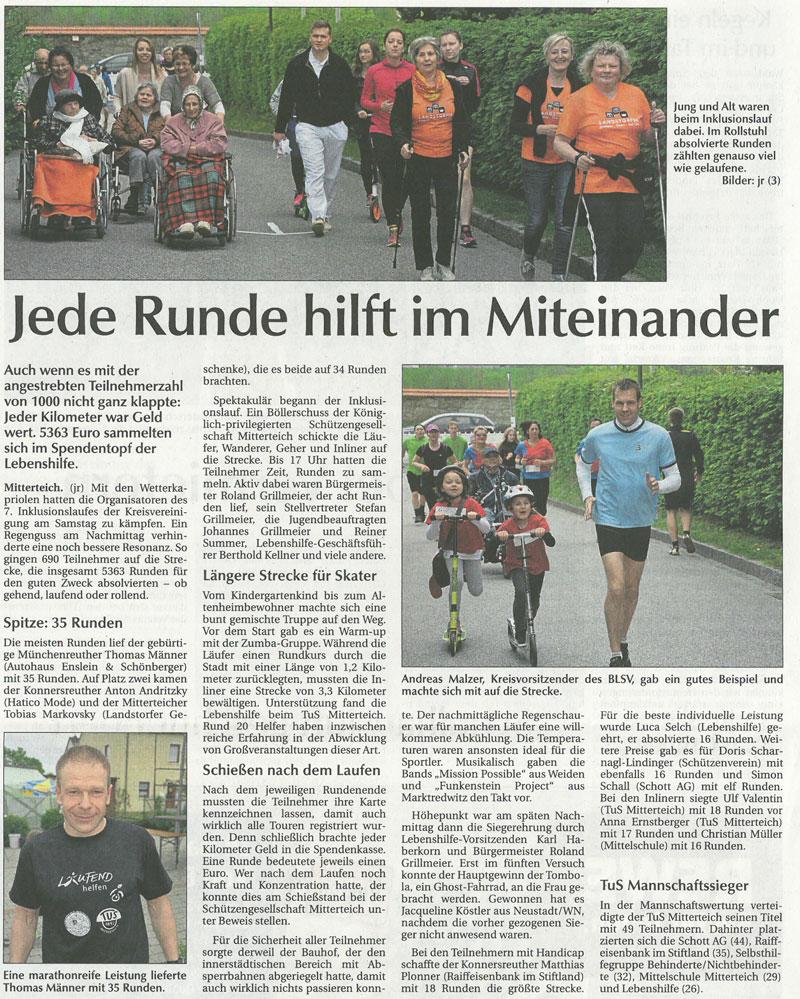 Artikel Der Neue Tag vom 11.05.2015