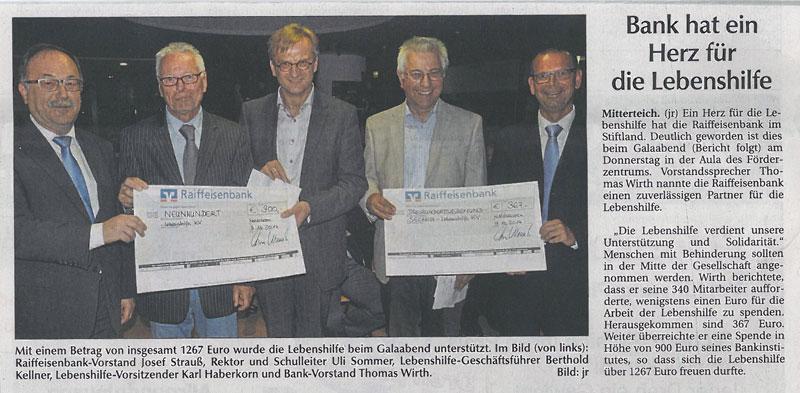 Artikel zur Spende der Raiffeisenbank