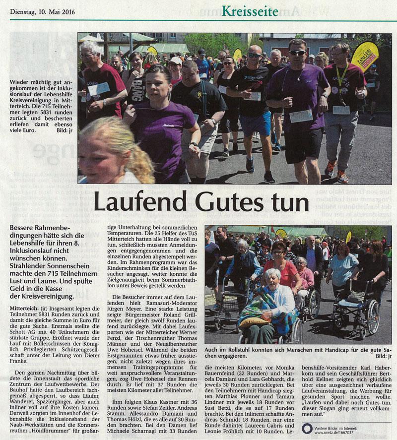 Artikel in Der Neue Tag vom 10.05.2016