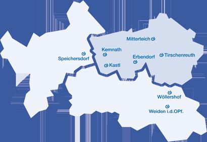 Standortkarte der Lebenshilfe Kreisvereinigung Tirschenreuth